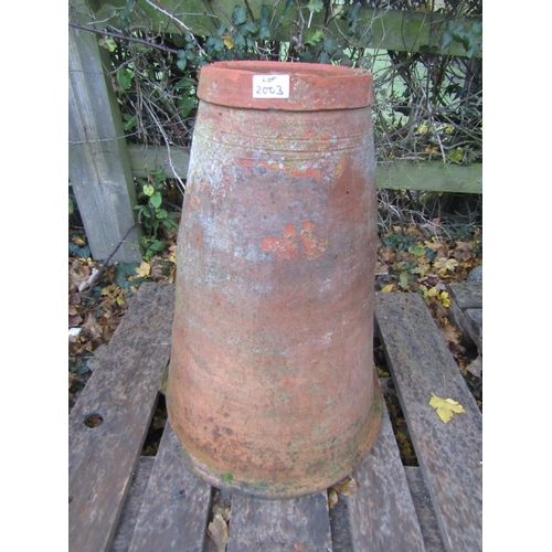 2003 - A weathered terracotta conical shaped rhubarb forcer with incised banded detail 58 cm in height...