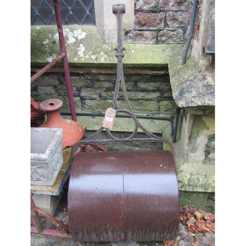 2018 - A Victorian cast iron garden roller with Gothic tracery detail...
