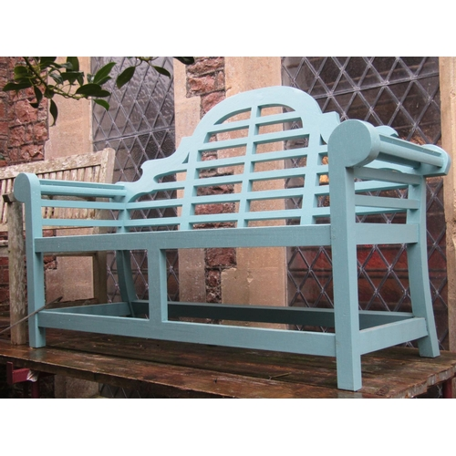2020 - A pair of contemporary Lutyens style garden benches with duck egg blue painted finish, 166 cm long...