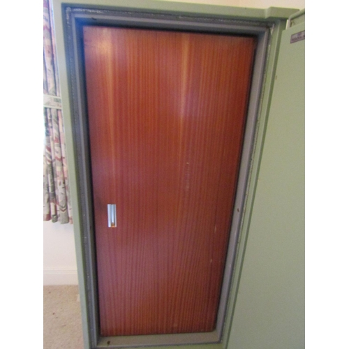 2037 - A Stratford fire safe (key in office), 71 cm wide x 63 cm deep x 152 cm height...