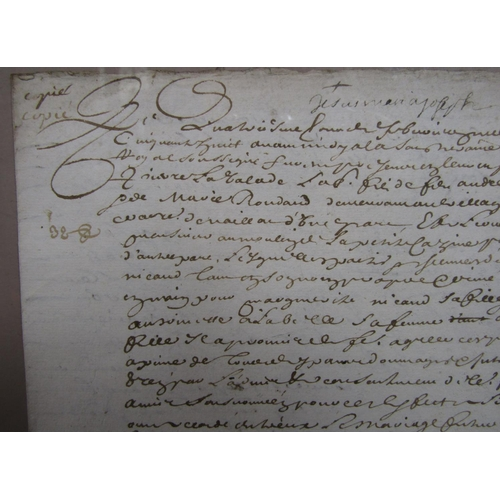 1830 - A 17th century marriage contract 30cm x 20cm (framed)