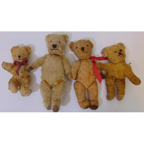 60 - Collection of 10 old and reproduction teddies including 2 Merrythought bears with labels, 4 small wo...