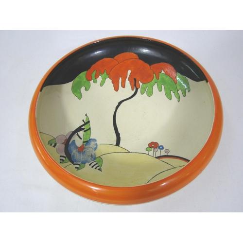 1039 - Clarice Cliff Woodland pattern large shallow dish, 30cm diameter...