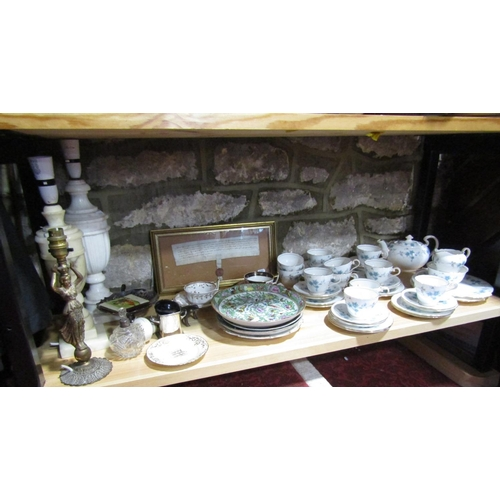 1003 - A collection of Aynsley teawares including tea pot, milk jug, sugar bowl, a pair of cake plates, ele...