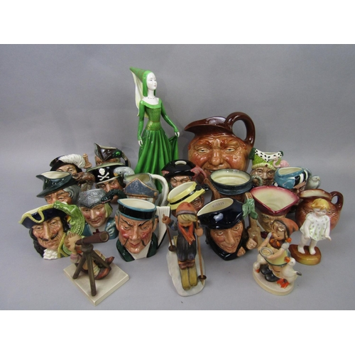 1004 - A collection of Royal Doulton character jugs including John Barleycorn Old Lad (2) Scaramouche, Capt...