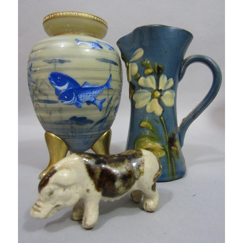 1010 - An interesting collection of 19th century and later ceramics including an unusual Bretby two handled...