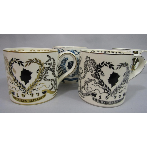 1013 - A collection of four Wedgewood Royal commemorative mugs designed by Richard Guyatt comprising the 19...