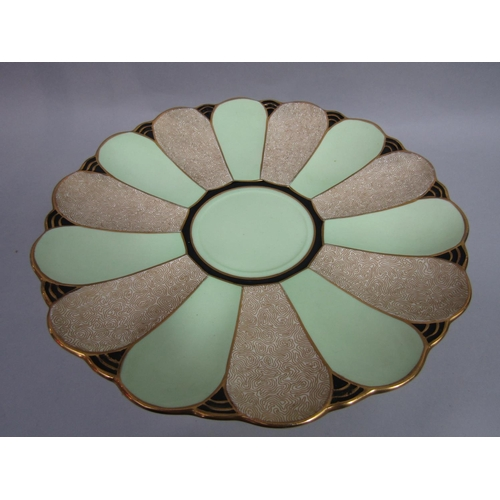 1016 - A decorative Plant Tuscan dessert service with alternating pale green, black and gilt panels compris...