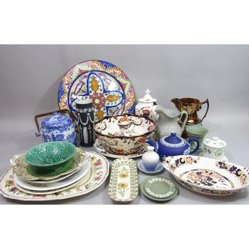 1017 - A collection of ceramics including an unusual late 19th century plate with painted decoration of Mer...