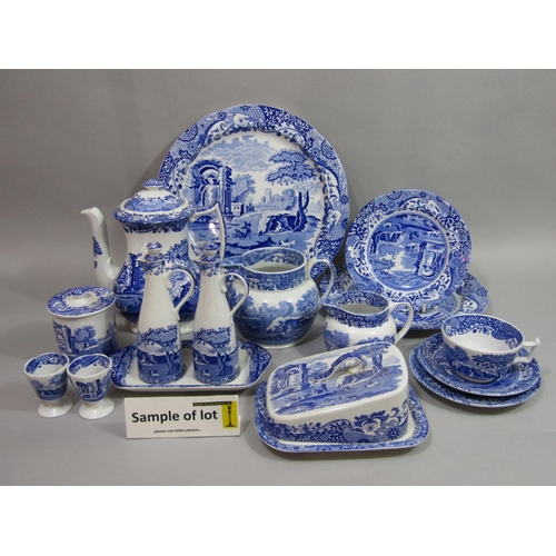 1018 - An extensive collection of Copeland Spode blue and white printed Italian pattern wares comprising a ...