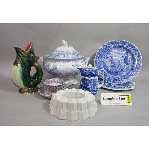 1021 - A collection of 19th century and later ceramics including a Syria pattern blue and white printed two...