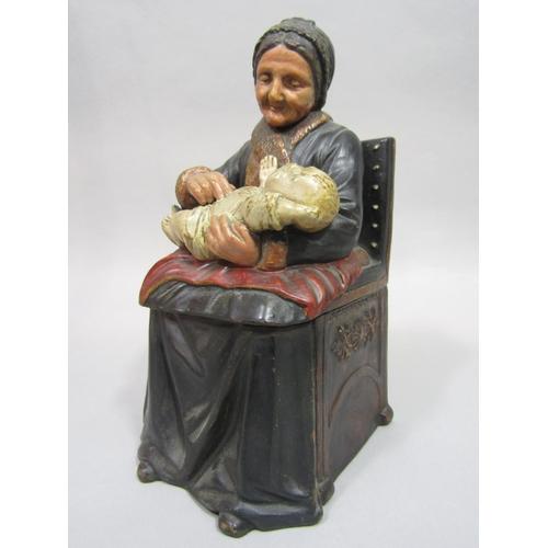 1026 - Bernhardt Bloch (Austrian 1836-1909) - An early 20th century coloured terracotta tobacco jar and cov...