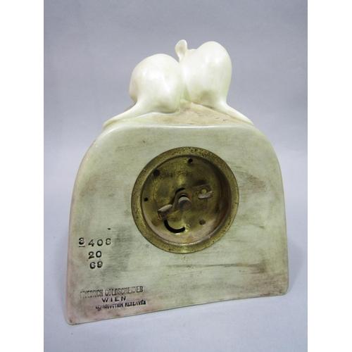 1028 - Friedrich Goldscheider (Austrian 1845-1897) - A mantel clock case modelled as a piece of cheese surm...