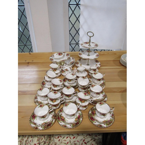 1034 - A quantity of Royal Albert Old Country Roses pattern wares comprising a three tier cake stand, compo...