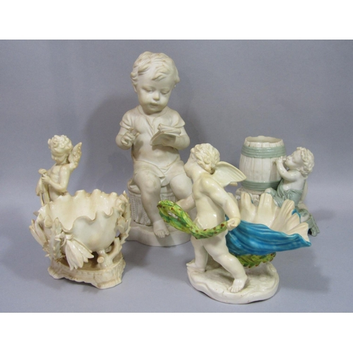 1044 - Two late 19th century Royal Worcester vases in the form of cherubs, one beside a barrel, the other b...