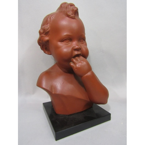 1045 - A terracotta bust of a young child with impressed mark to reverse R. Scali and numbers 161, 31.5cm i...