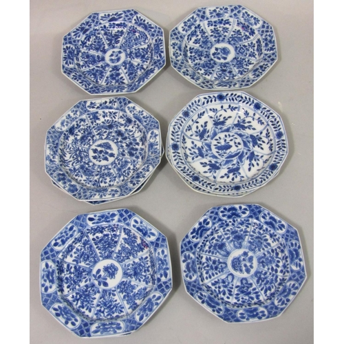 1049 - A collection of late 19th century oriental dishes of octagonal form, all with blue and white painted...