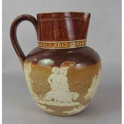 1055 - A Doulton Lambeth stoneware jug commemorating the 1887 Royal Jubilee, with relief moulded decoration...