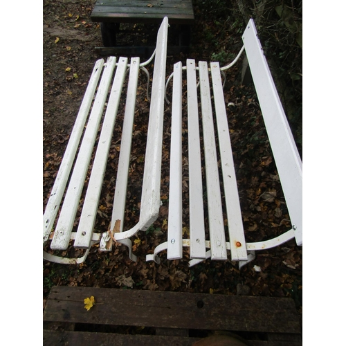 2002 - A pair of sprung steel garden benches with timber lathes and painted finish, 5ft long (AF)...