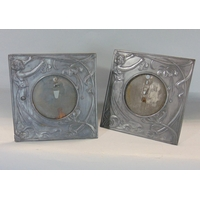Pair of Art Nouveau cast pewter easel picture frames with Tondo recess, in the manner of WMF, 18 x 18 cm and 9 cm viewing portal (2)