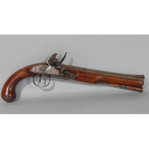 1821 - 18th century flintlock blunderbuss pistol with ironwork flared barrel, - Jover, London, 38cm...