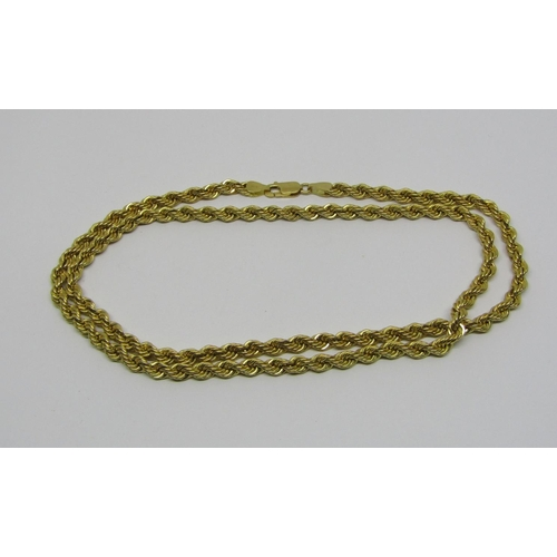 18ct rope twist chain necklace, 17.6g