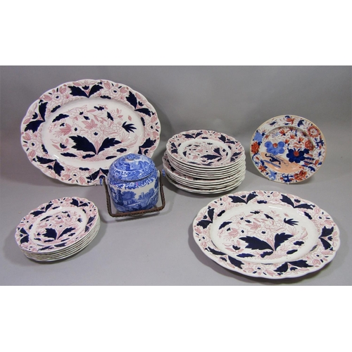 A Copeland Spode Italian pattern blue and white printed biscuit barrel and cover, together with an early 19th century ironstone type plate and a collection of Booth's Dovedale pattern plates comprising two oval serving plates and eighteen further plates of different sizes (a collection)