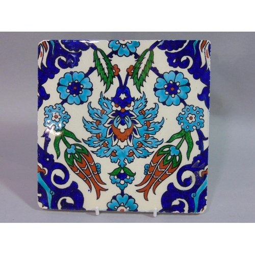 1062 - Collection of 19th century and later tiles to include a Kutahya Iznik type tile 20 x 20 cm, two rect...