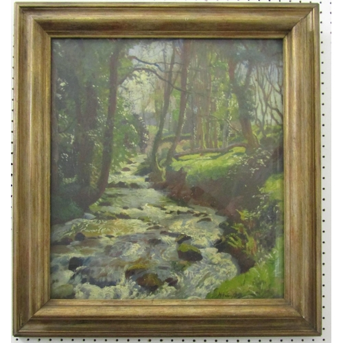261 - Harold Harvey (British 1874-1941) - Wooded landscape with rushing stream, possibly at Lamorna, oil o...