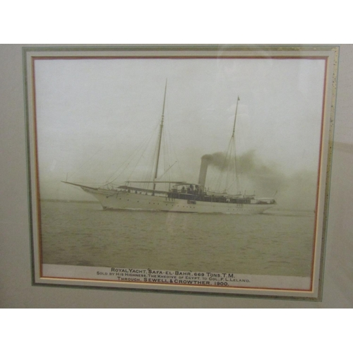 273 - Early 20th century sepia coloured photograph of the royal yacht Safa El Bahr, blind embossed stamp -...