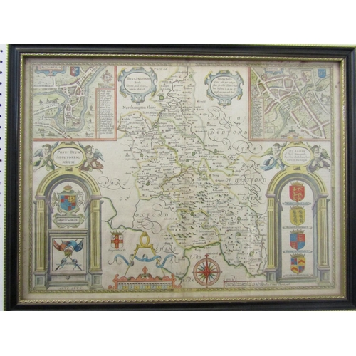 262 - John Speed - 17th century map of Buckinghamshire, coloured engraved map, dated 1666, showing plans o...