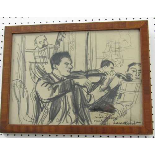 271 - Dame Laura Knight DBE RA RWS (British 1877-1970) - Study of musicians, charcoal on paper, signed, in...