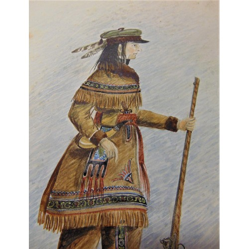 379 - Mid 19th century watercolour (watermarked G. Yeeles 1823) European trapper in semi-native clothing w...