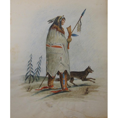380 - Mid 19th century watercolour (watermarked G. Yeeles 1823) North American Indian with hunting dog – s...