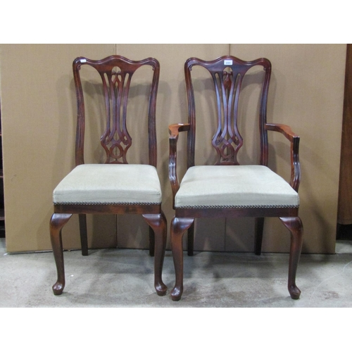 2029 - A set of six (4&2) contemporary reproduction Georgian style dining chairs with pierced vase shaped s...