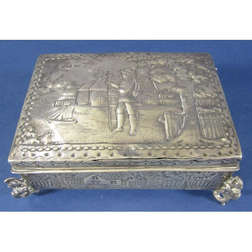 60 - Victorian silver embossed box showing 18th rural landscapes, simple buildings amongst trees, to the ...