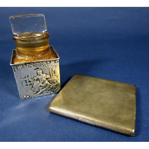 62 - A silver cigarette case with engine turned detail, together with a glass smelling salts bottle with ...