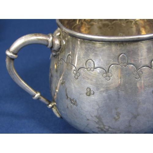 64 - Silver mug with reeded banded detail and loop handle - half pint capacity engraved Geraldine (Harrod...