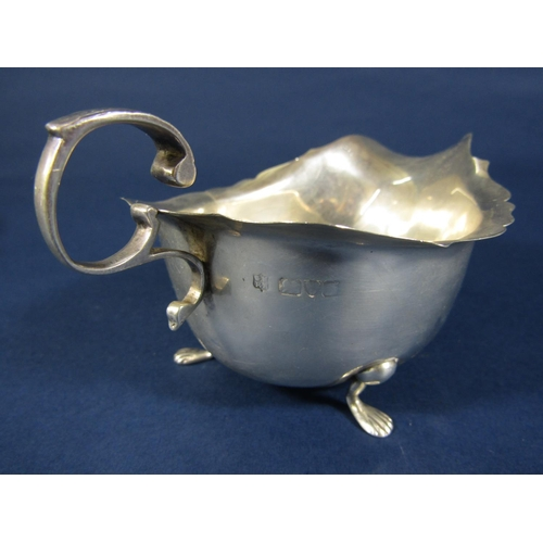66 - Pair of Georgian style gravy boats, marks rubbed, Chester 5oz approx...