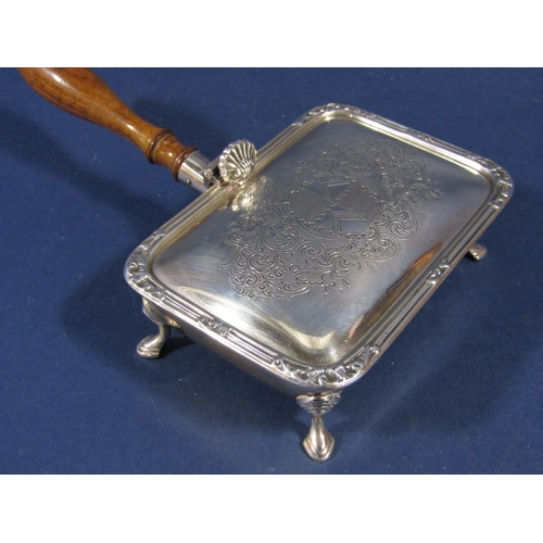 38 - Good quality Garrard of London silver small cheese toasting type dish, with engraved scallop shell t...