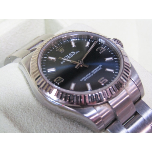 530 - Ladies Rolex Oyster Perpetual midi Ref 177234 wristwatch, the dusky blue 'Explorer' dial with Arabic...