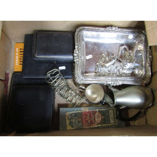 16 - A box containing a collection of silver plated wares comprising lidded entrée dishes, toast racks an...