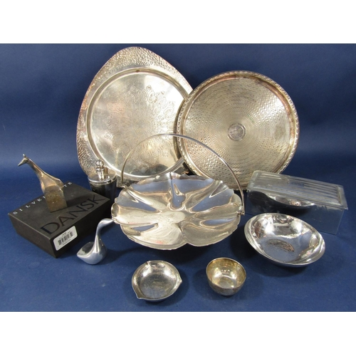 21 - Keswick school type silver plated triform tray, together with a further silver tray, pedestal dish a...