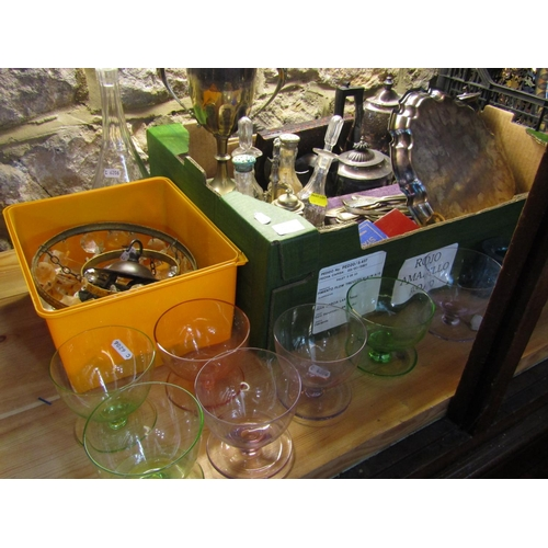 26 - A box containing a large collection of silver plated items to include a five bottle cruet, various f...