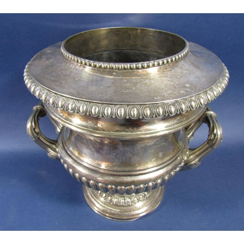 4 - Good quality antique silver plated wine cooler in the form of a twin handled Campana urn, with beade...