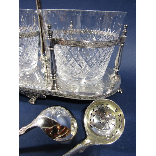 5 - Modern silver plated twin preserve glass cruet, fitted with two hobnail cut glass vessels, each with...