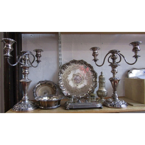 7 - A good collection of silver plate to include a pair of lobed tapered, silver plated wine coasters, t...