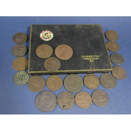 614 - 20 Georgian and later bronze English trade tokens and local currency, Chichester, Bath, Sheffield, L...