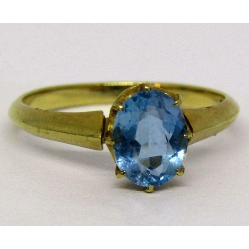 264 - 18ct oval aquamarine solitaire ring, size L, 2.4g...