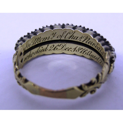 265 - Georgian mourning ring set with two rows of graduated diamonds, inscribed to interior 'In mem of Cha...